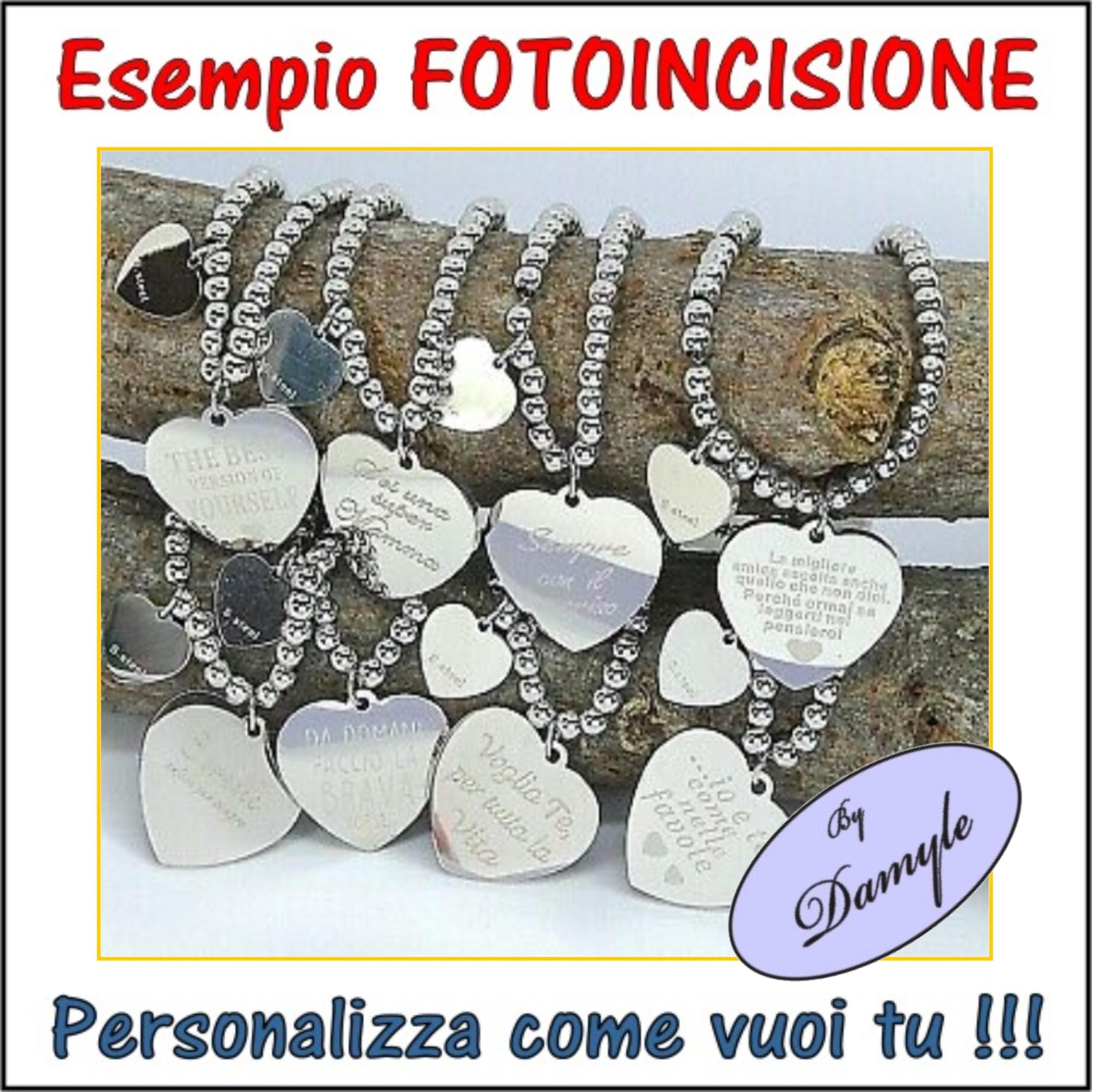 medaglia acciaio argento oro incisa personalizzata collana bracciale anello incisione personalizzazione