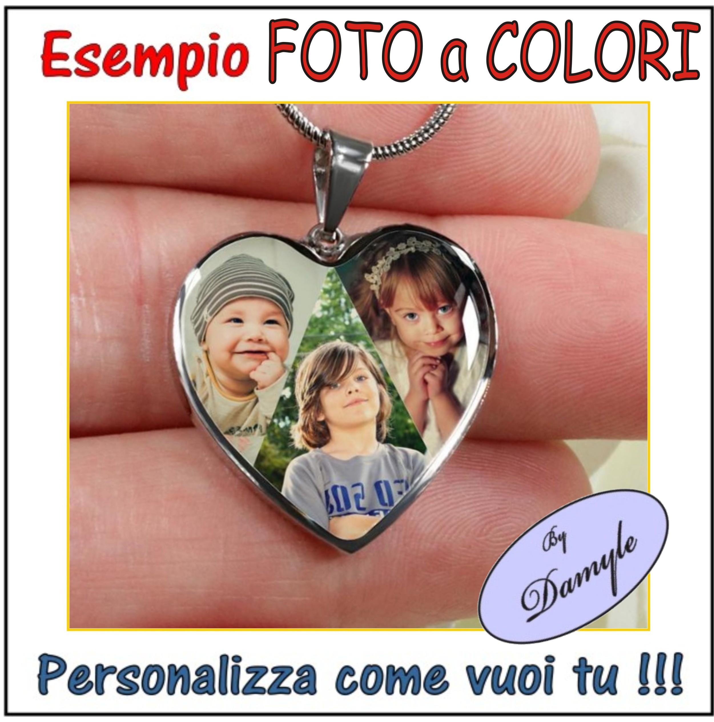 personalizzazione ciondolo medaglia pendente foto colori incisa su ciondoli medaglie collane bracciali incisi personalizzati
