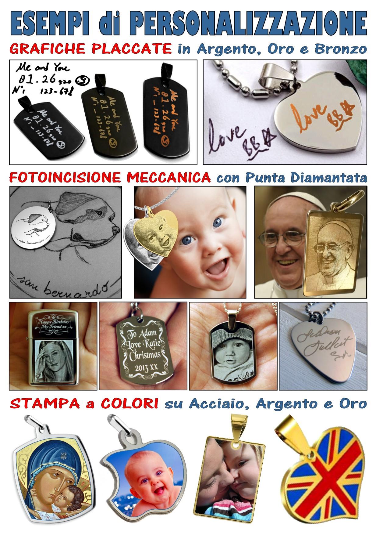 espositore catalogo personalizzazione a colori. incisione, fotoincisione, medaglie, pendenti, ciondoli e gadget acciaio, argento, oro da personalizzare, incidere, stampare