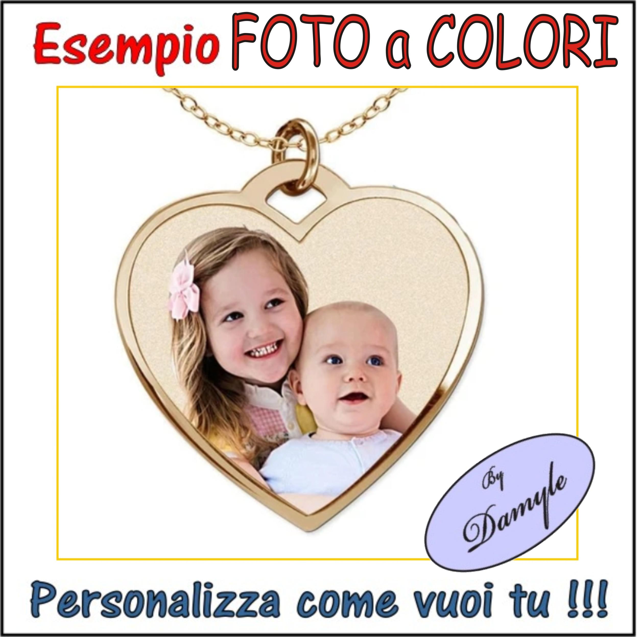 personalizzazione ciondolo oro medaglia pendente foto colori incisa su ciondoli medaglie collane bracciali incisi personalizzati