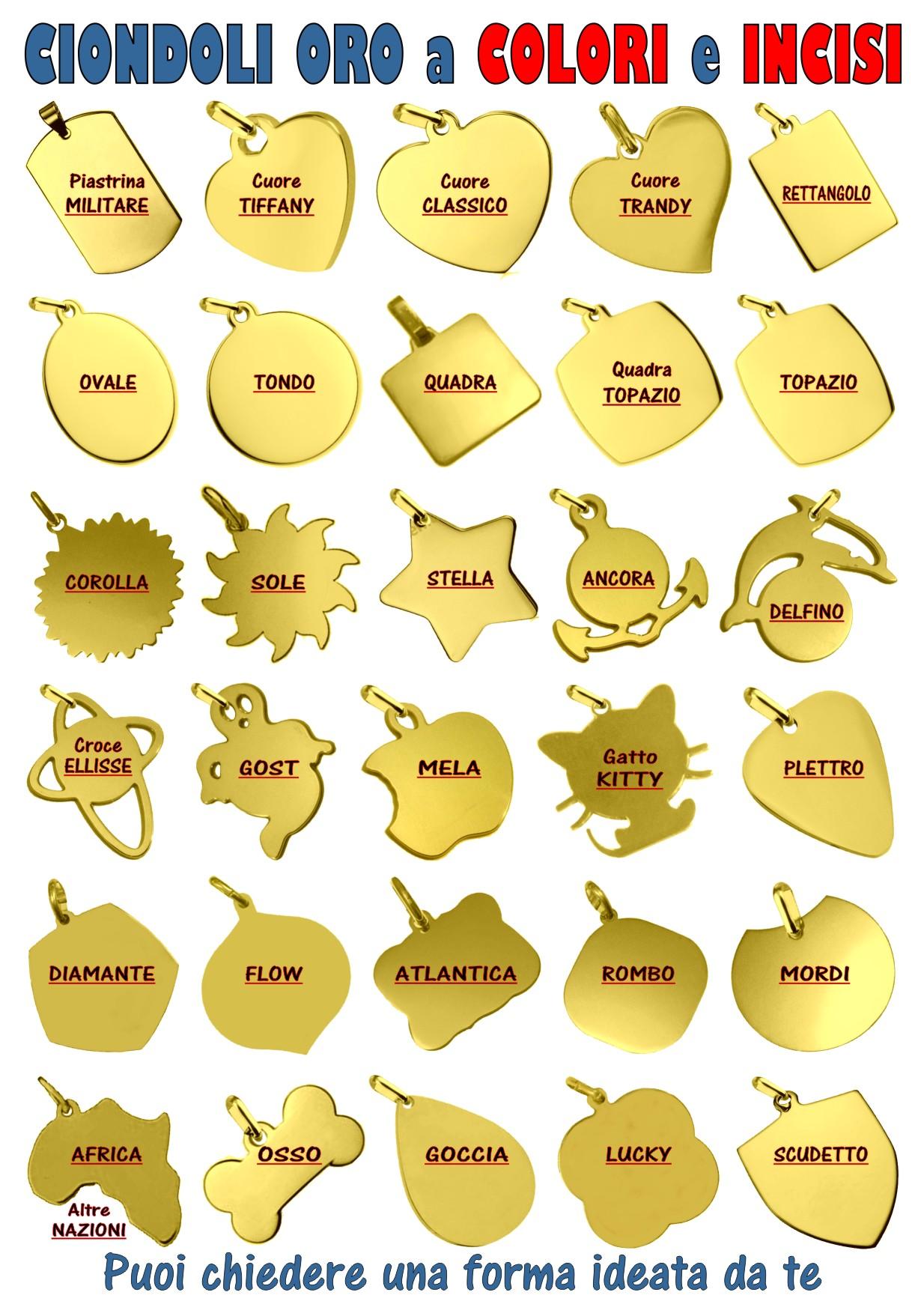 ciondoli oro vari modelli da incidere e stampare a colori