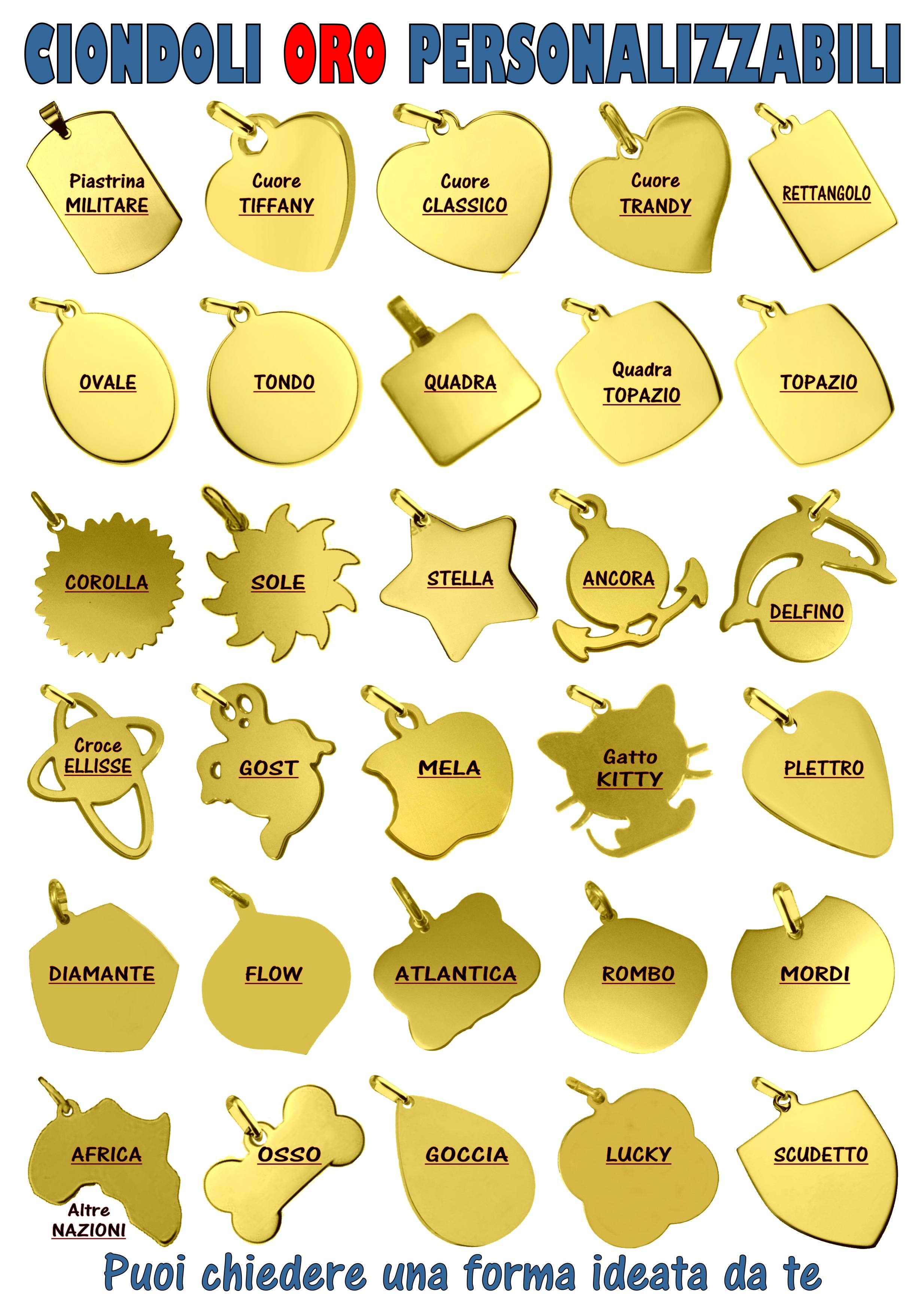 ciondoli oro medaglie da incidere con fotoincisione personalizzata