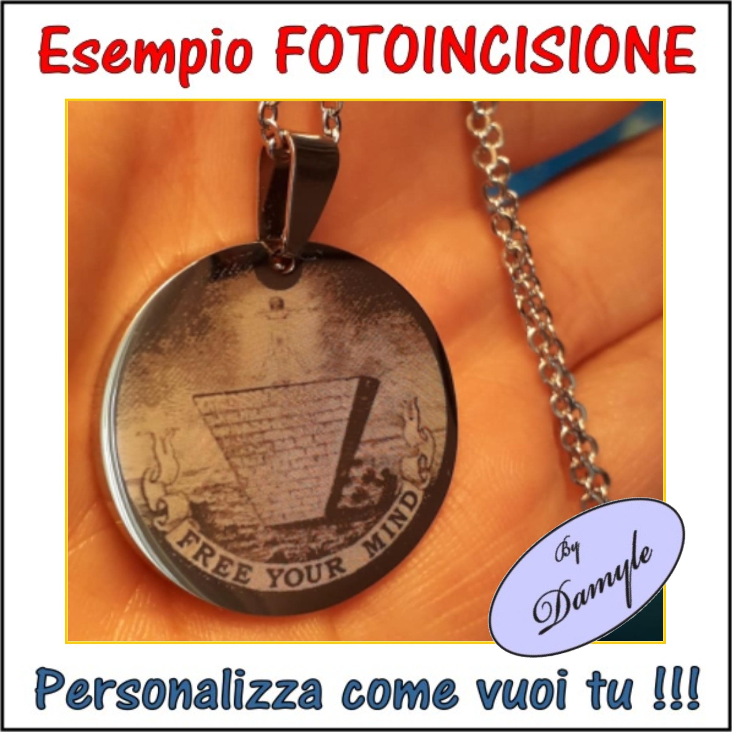 incidere ciondoli medaglie collane bracciali pendenti personalizzati foto incise