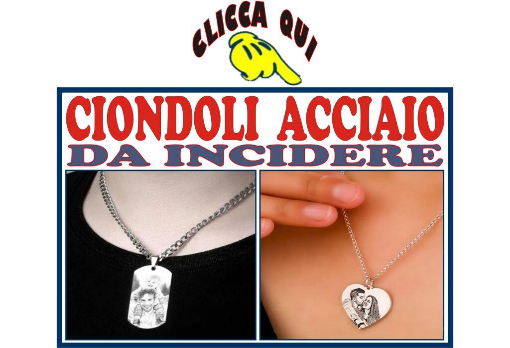 CIONDOLI medaglie collane da foto incidere con personalizzazione incisa su pendente