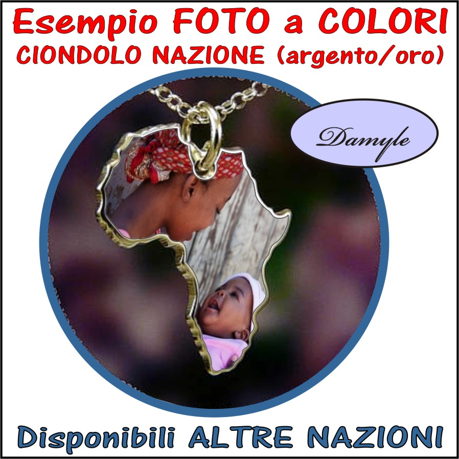 ciondolo africa stampa personalizzata a colori su ciondolo,medaglia,pendente,bijou argento e incisione, personalizzazione foto
