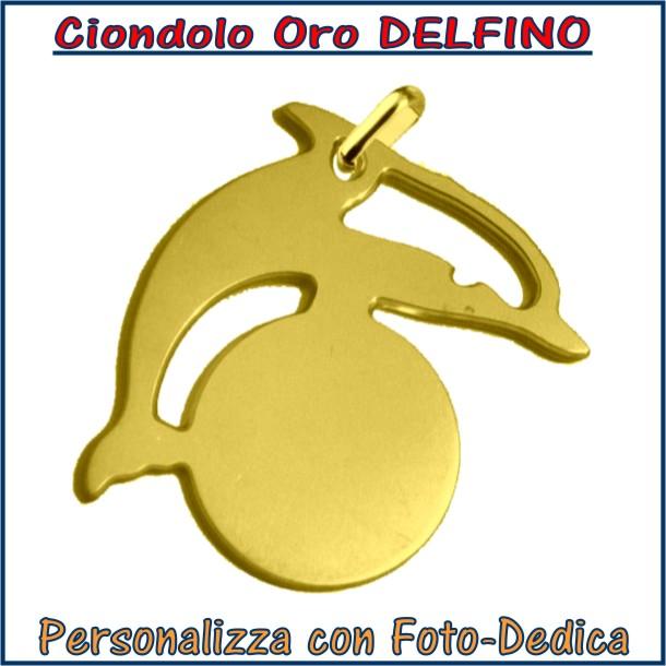 ciondolo oro pesce delfino da incidere con fotoincisione medaglia collana personalizzato personalizzazione incisione
