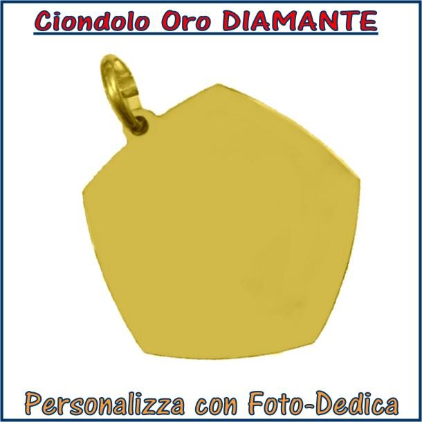 ciondolo oro diamante da incidere con fotoincisione medaglia collana personalizzato personalizzazione incisione