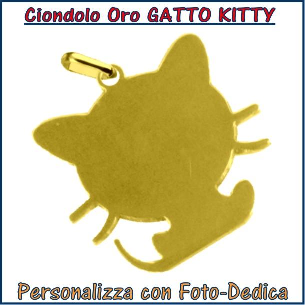 ciondolo oro gatto kitty da incidere con fotoincisione medaglia collana personalizzato personalizzazione incisione