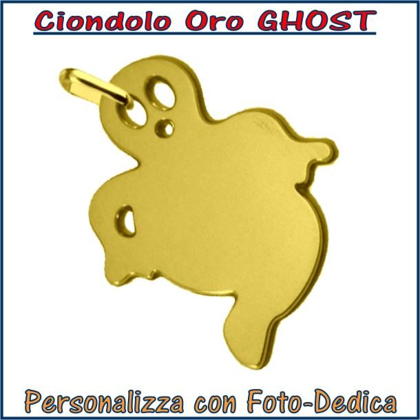 ciondolo oro ghost fantasma da incidere con fotoincisione medaglia collana personalizzato personalizzazione incisione