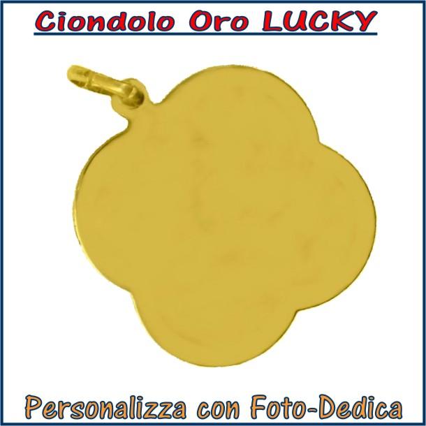 ciondolo oro lucky da incidere con fotoincisione medaglia collana personalizzato personalizzazione incisione