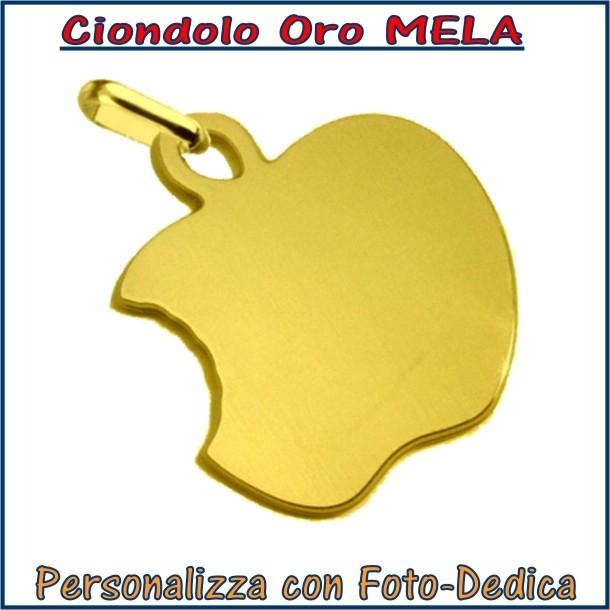 ciondolo oro mela frutta da incidere con fotoincisione medaglia collana personalizzato personalizzazione incisione