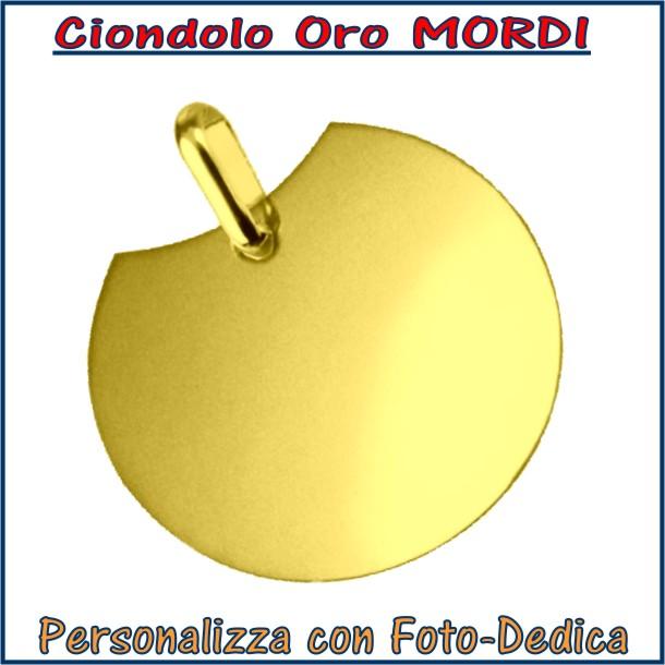 ciondolo oro rotondo mordi da incidere con fotoincisione medaglia collana personalizzato personalizzazione incisione
