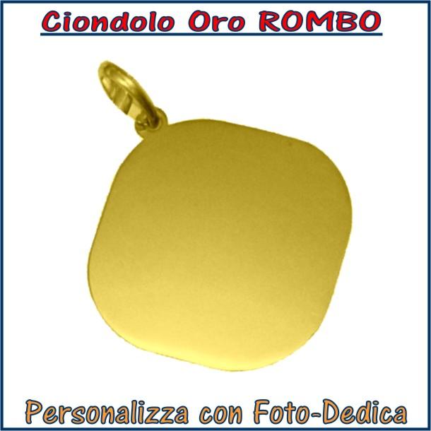 ciondolo oro rombo da incidere con fotoincisione medaglia collana personalizzato personalizzazione incisione