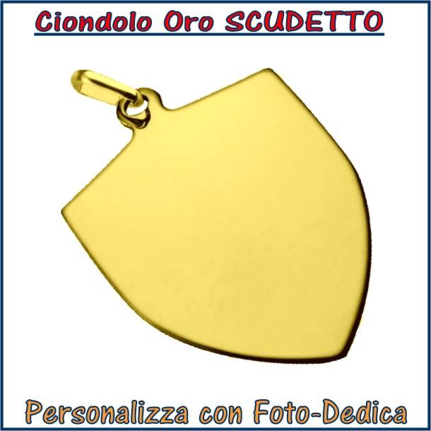 ciondolo oro scudetto calcio da incidere con fotoincisione medaglia collana personalizzato personalizzazione incisione