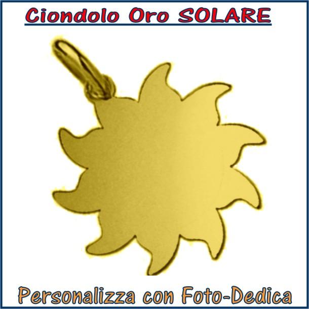 ciondolo oro sole solare da incidere con fotoincisione medaglia collana personalizzato personalizzazione incisione