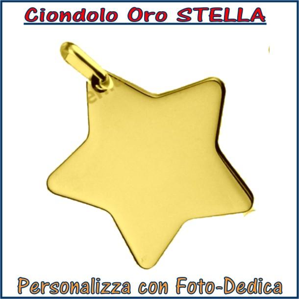 ciondolo oro stella da incidere con fotoincisione medaglia collana personalizzato personalizzazione incisione
