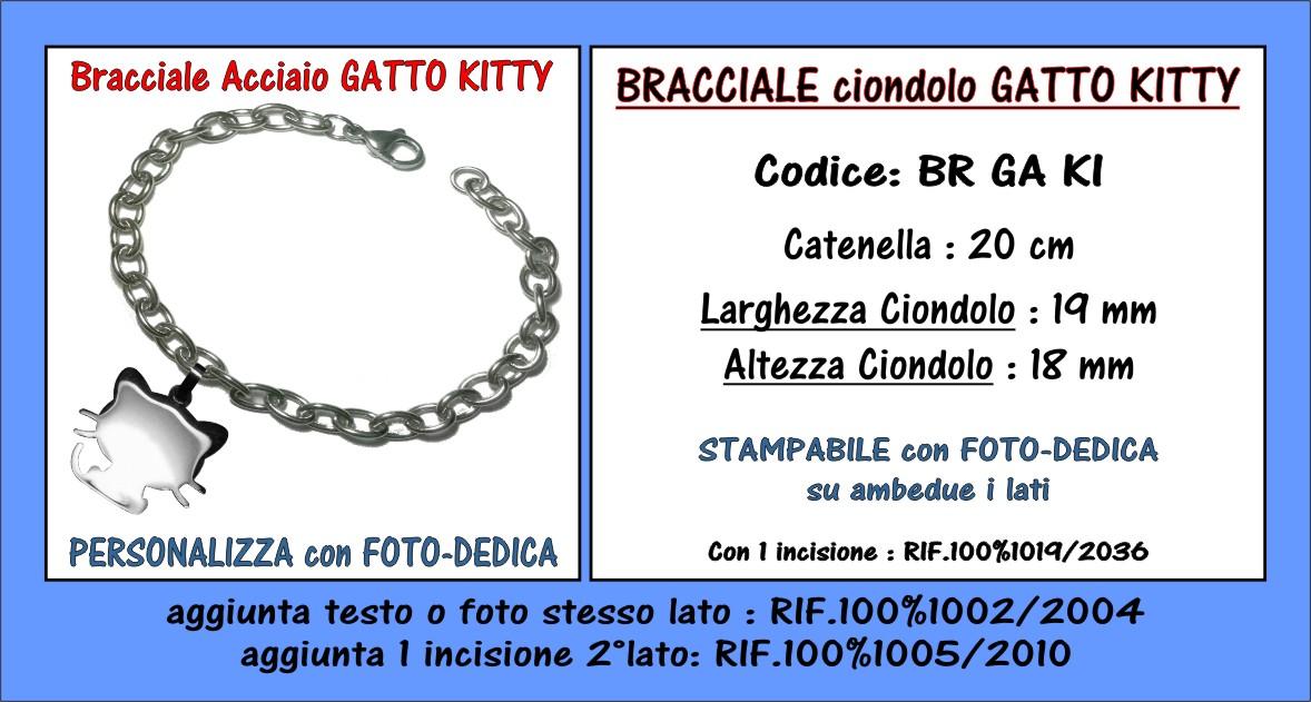 bracciale acciaio ciondolo gatto kitty ipoallergenico da personalizzare con incisione