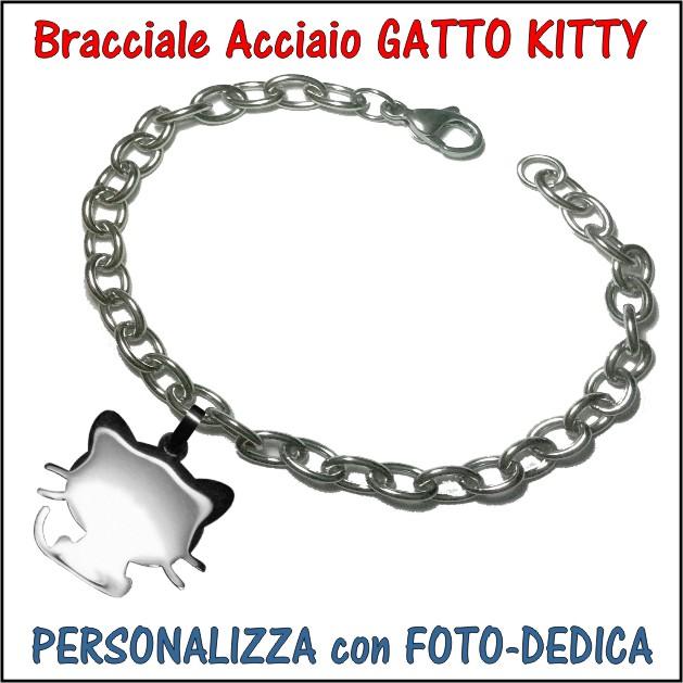 bracciale acciaio ciondolo gatto kitty personalizzato con incisione