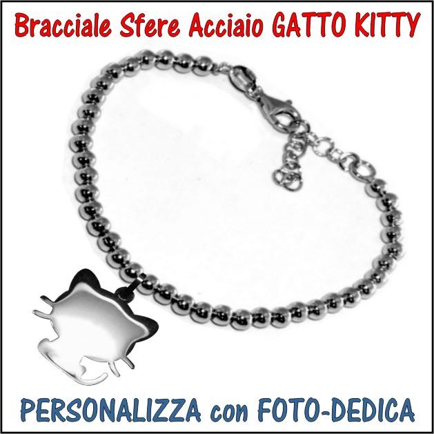 bracciale acciaio sfere gatto kitty