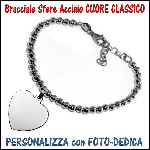 bracciale sfere acciaio cuore classico