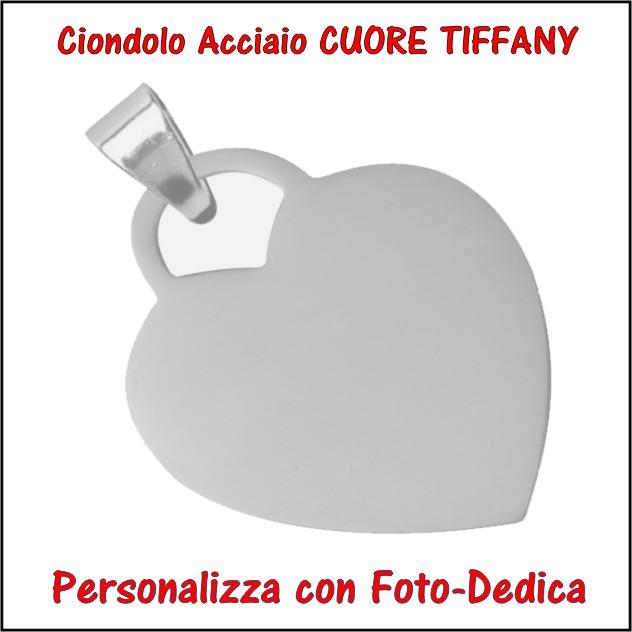 medaglia acciaio cuore tiffany per fotoincisione ciondolo personalizzato pendente inciso