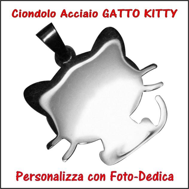 medaglia acciaio gatto kitty per fotoincisione ciondolo personalizzato pendente inciso