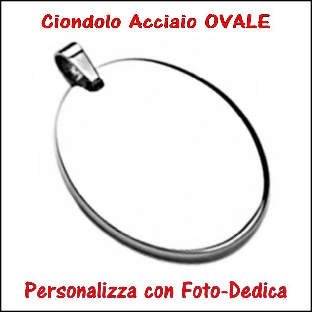 medaglia acciaio ovale per fotoincisione ciondolo personalizzato pendente inciso