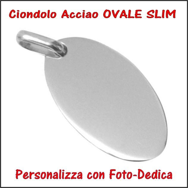 medaglia acciaio ovale slim per fotoincisione ciondolo personalizzato pendente inciso