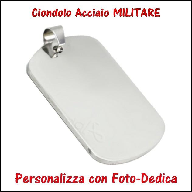 medaglia acciaio placchetta militare per fotoincisione ciondolo personalizzato pendente inciso