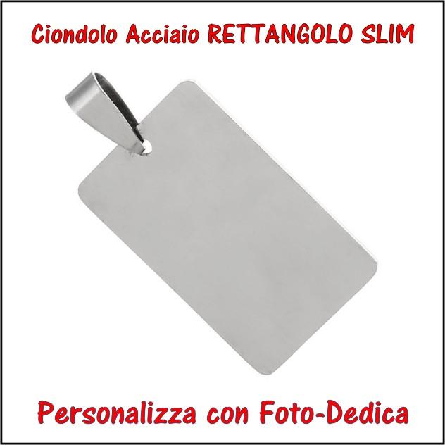 medaglia acciaio rettangolo slim per fotoincisione ciondolo personalizzato pendente inciso