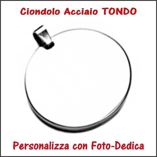 medaglia acciaio rotondo per fotoincisione ciondolo personalizzato pendente inciso