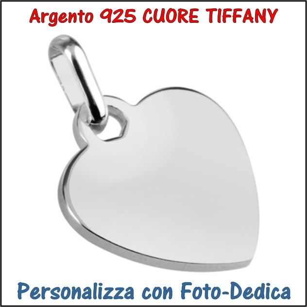medaglia argento cuore tiffany da incidere con foto incisione