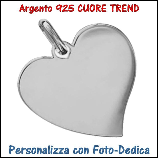 medaglia argento cuore trend da incidere con foto incisione