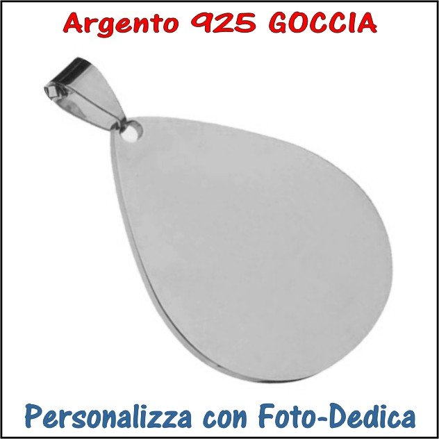medaglia argento goccia da incidere con foto incisione