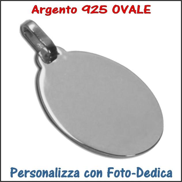 medaglia argento ovale da incidere con foto incisione