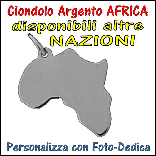 charms argento personalizzabile con fotoincisione africa da incidere con foto incisione