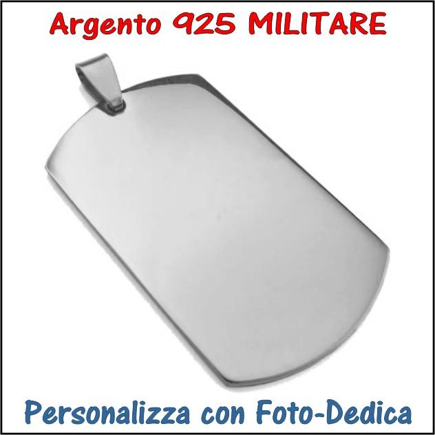 medaglia argento piastrina militare da incidere con foto incisione