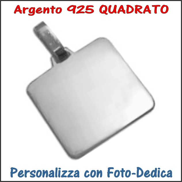 medaglia argento quadratoda incidere con foto incisione
