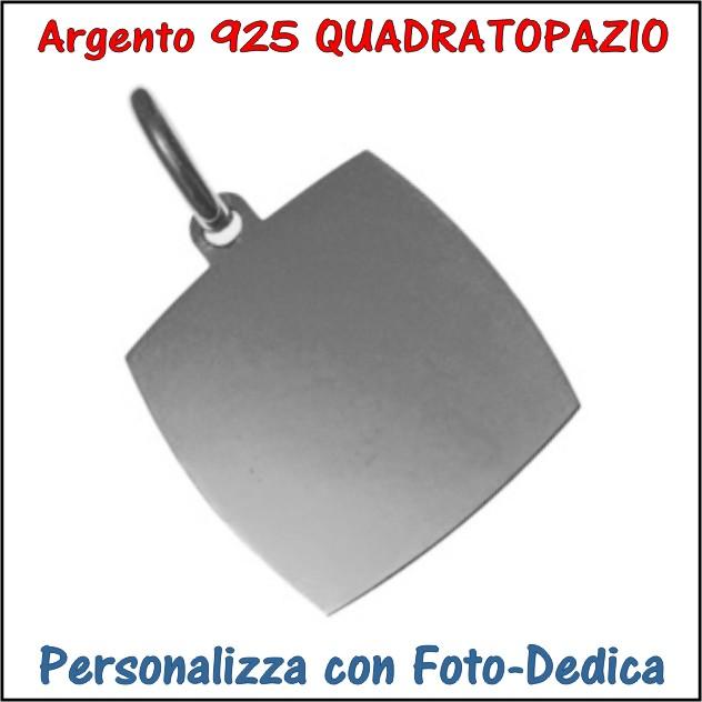 medaglia argento quadrato topazio da incidere con foto incisione