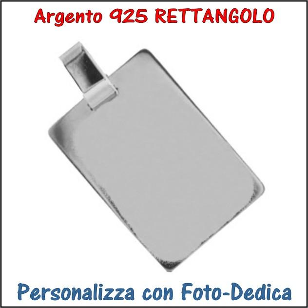 medaglia argento rettangolo da incidere con foto incisione