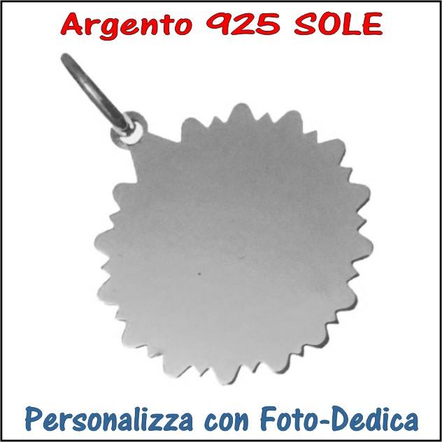 medaglia argento sole da incidere con foto incisione