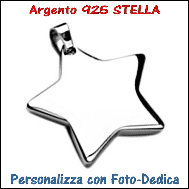 medaglia argento stella da incidere con foto incisione