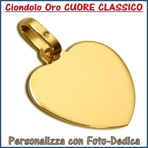 ciondolo oro cuore classico fotoincisione inciso personalizzato personalizzazione