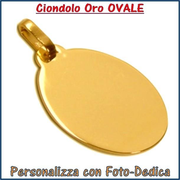 ciondolo oro ovale con foto dedica inciso , foto incisione