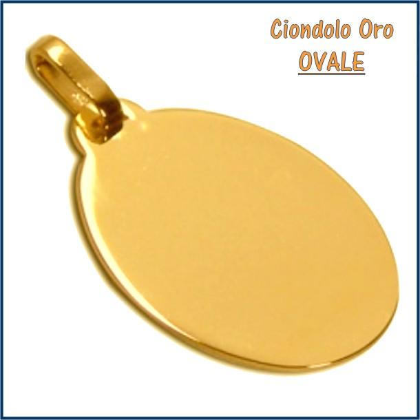 ciondolo medaglia oro personalizzato inciso ovale fotoincisione