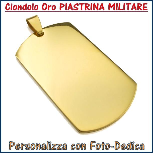 ciondolo oro piastrina militare inciso con fotoincisione