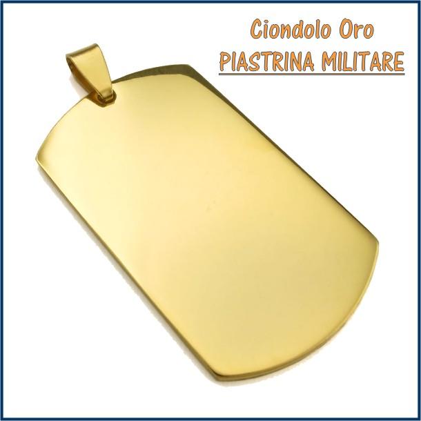 ciondolo medaglia oro personalizzato inciso piastrina militare fotoincisione