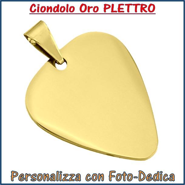 ciondolo oro plettro con incisione foto logo dedica personalizzato