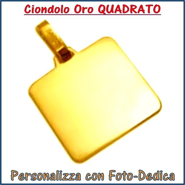 ciondolo oro quadrato personalizzabile con incisione foto dedidica