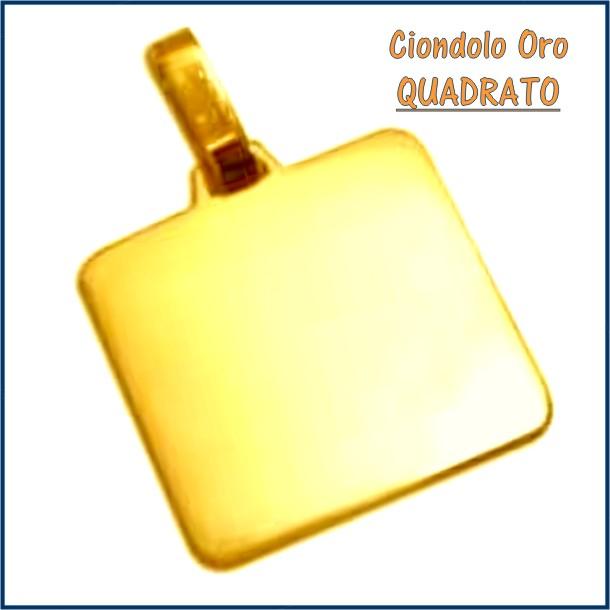ciondolo medaglia oro personalizzato inciso quadrato fotoincisione